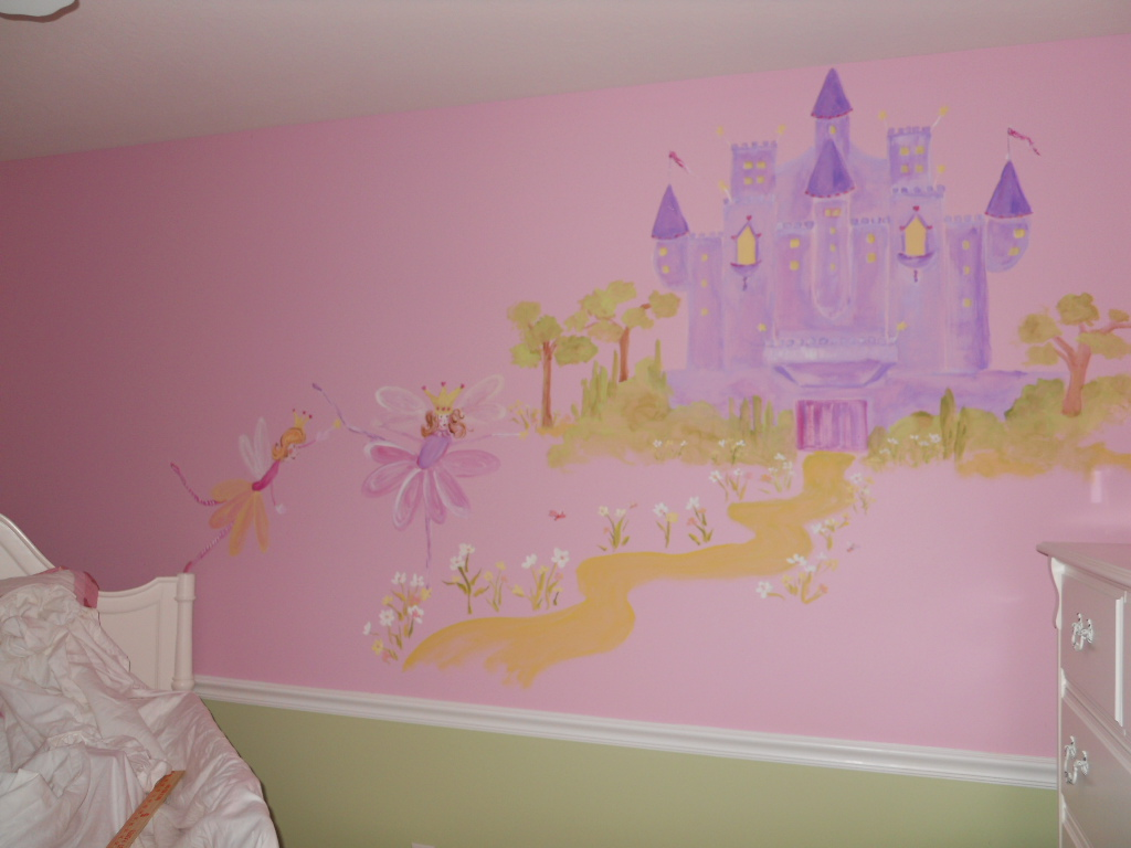 Wall mural for a fairy princess simply stephanie 39 s art blog for Fairy princess bedroom ideas