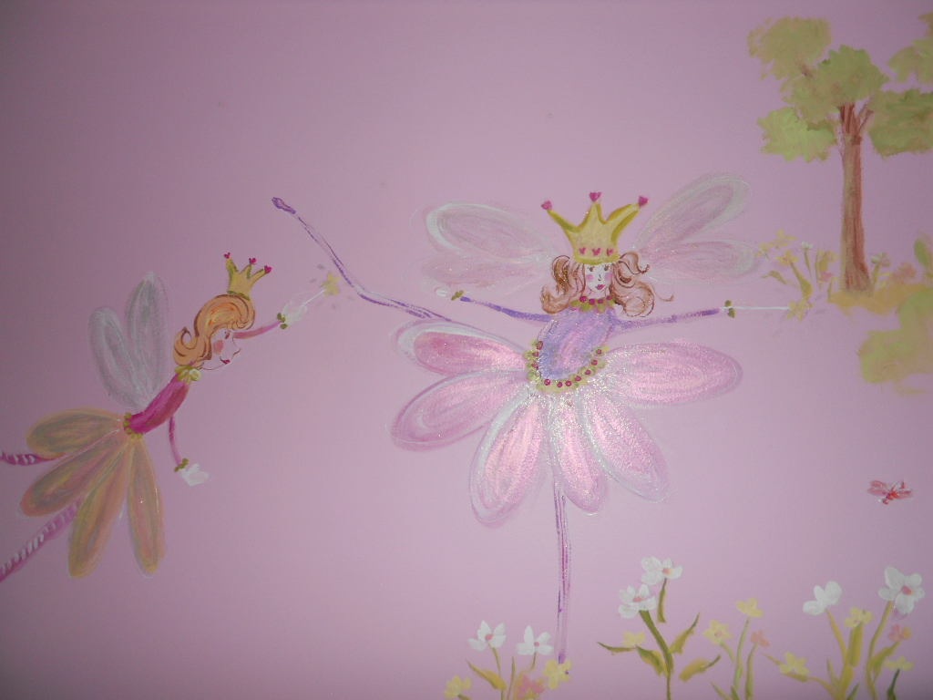 Wall mural for a fairy princess simply stephanie 39 s art blog for Fairy wall mural