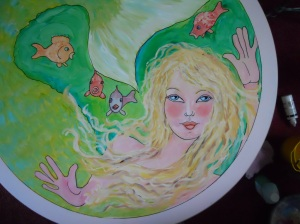 Mermaid painted on coffee table