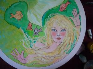Mermaid painted on coffee table